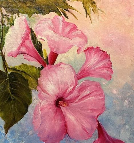 """Pink Morning Glories  Flowers"" original fine art by Barbara Haviland"