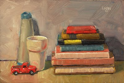 """Still Life with Books"" original fine art by Raymond Logan"