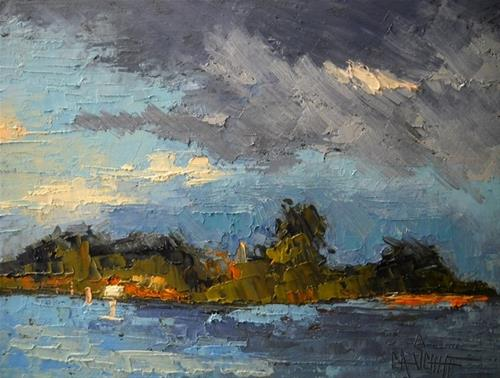 """Small Landscape Painting, Intracoastal Island by Carol Schiff, 6x8 Oil"" original fine art by Carol Schiff"