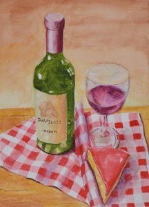 """Wine and Cheese"" original fine art by Robert Frankis"