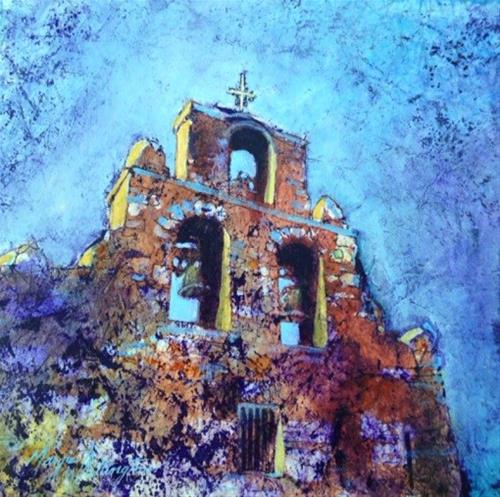 """San Antonio Mission"" original fine art by Margie Whittington"
