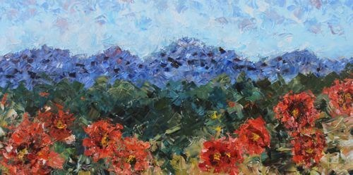 """""""Palette Knife Poppy Landscape Painting Mountain Poppies by Colorado Impressionist Judith Babcock"""" original fine art by Judith Babcock"""
