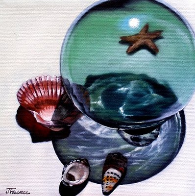 """Shell and Glass Orb Study"" original fine art by Jelaine Faunce"