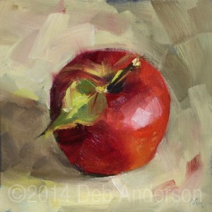"""Oil Painting of Autumn Beauty Apple"" original fine art by Deb Anderson"