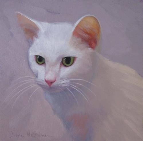 """Eli, painting of a white cat"" original fine art by Diane Hoeptner"