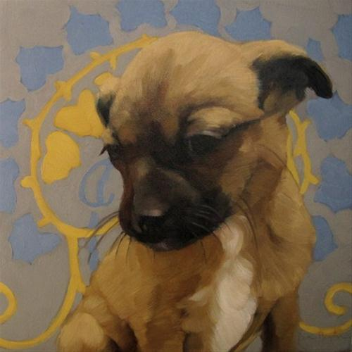 """The Good Dog cute puppy on pattern painting"" original fine art by Diane Hoeptner"