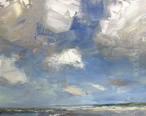 """Painting Clouds Seascape ""White Powerful Clouds"""" original fine art by Roos Schuring"