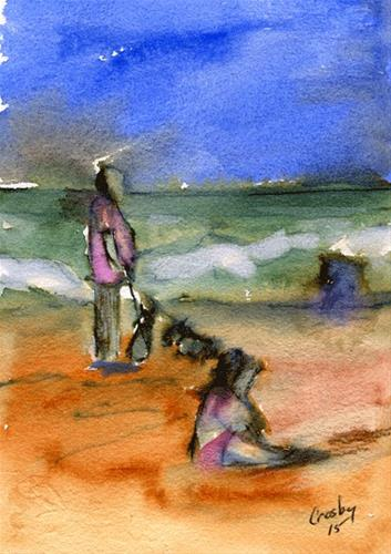 """Beach Puppies"" original fine art by Donna Crosby"