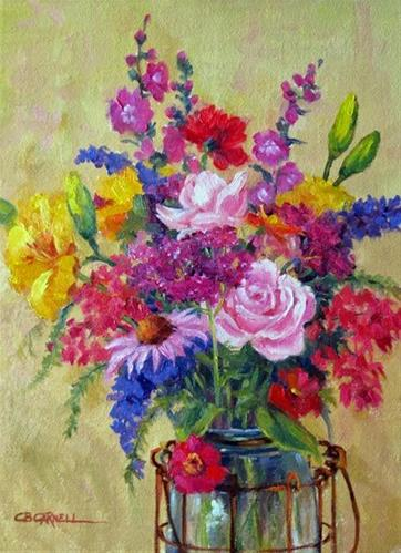"""'Summer Flowers' An Original Oil Painting by Claire Beadon Carnell"" original fine art by Claire Beadon Carnell"