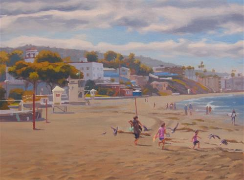 """Kids Play, Laguna Beach"" original fine art by John White"