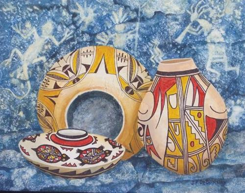 """Pots and Pictographs F"" original fine art by Jean Pierre DeBernay"