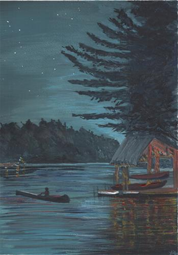 """Twilight Canoe Ride"" original fine art by Laura Denning"