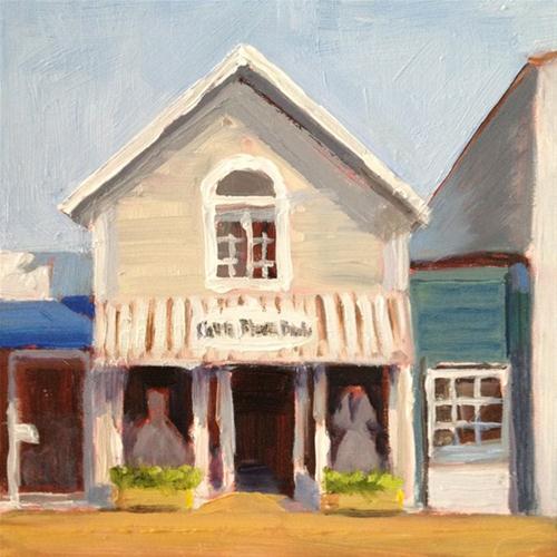 """""""Dress Shop on Main Street"""" original fine art by Deborah Newman"""