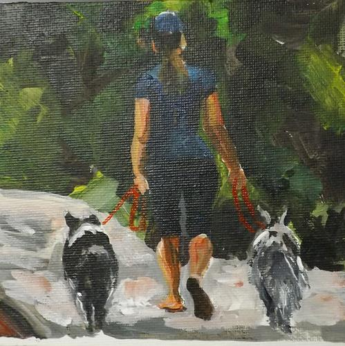 """A LADY HOLDING 2 DOGES,U3"" original fine art by Run-      Zhang Zane"