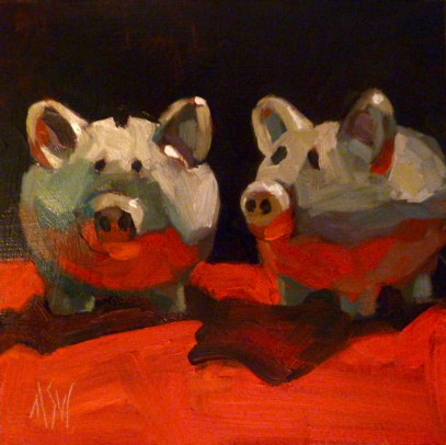 """Pig Love 6x6 oil on gesso board"" original fine art by Mary Sheehan Winn"