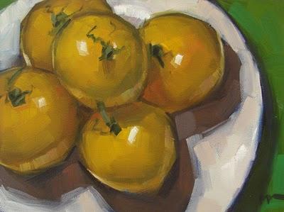 """Yellow Tomatoes 5"" original fine art by Carol Marine"