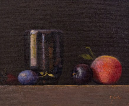 """Golden Series: Strawberry, Plums, and Peach with Handmade Cup  (+ Contest Giveaway !)"" original fine art by Abbey Ryan"