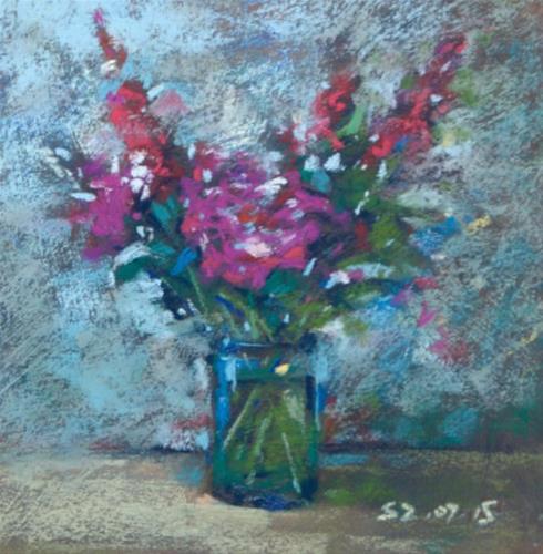 """Purple Flowers"" original fine art by Sabrina Zhou"