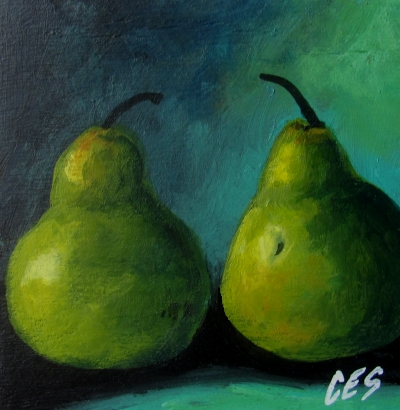 """Pair of Pears"" original fine art by ~ces~ Christine E. S. Code"