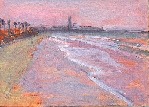 """Off the Oceanside Pier Plein Air"" original fine art by Kevin Inman"