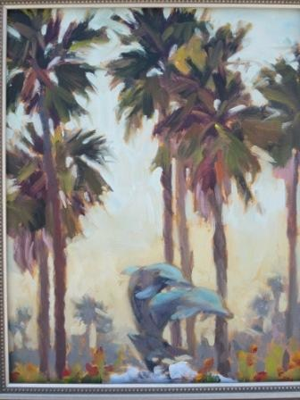 """Dolphins and Palms"" original fine art by Leigh Alexandra Sparks"