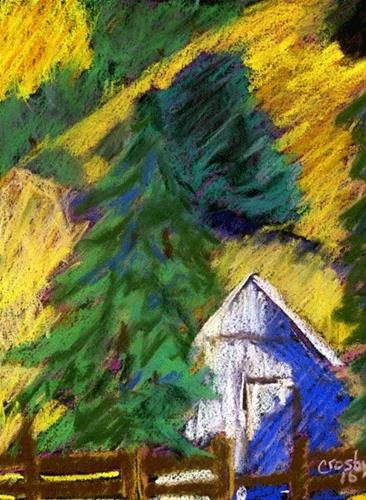 """Hillside Segment"" original fine art by Donna Crosby"