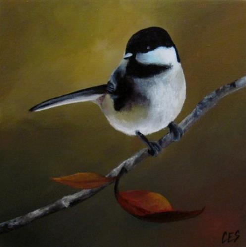 """""""Chickadee in Autumn"""" original fine art by ~ces~ Christine E. S. Code"""