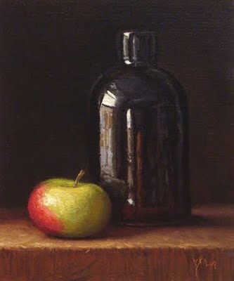 """Lady Apple with Curved Bottle (exhibition)"" original fine art by Abbey Ryan"