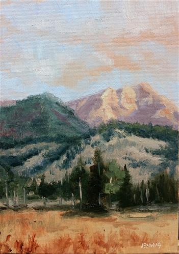 """Sunrise on the mountains 1-study"" original fine art by Veronica Brown"