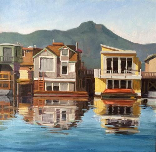 """House Boats"" original fine art by Deborah Newman"