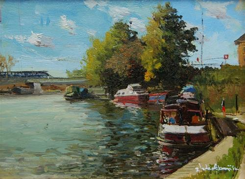 """Afternoon Light, Regents Canal"" original fine art by Adebanji Alade"