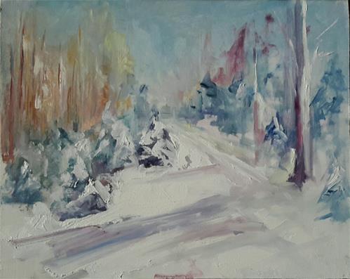 """Snow from memory"" original fine art by Evelyne Heimburger Evhe"