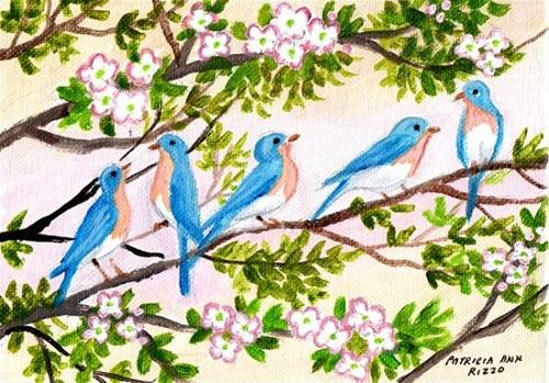 """Happy Bluebirds"" original fine art by Patricia Ann Rizzo"