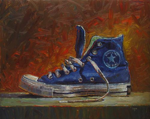 """Blue High Top"" original fine art by Raymond Logan"