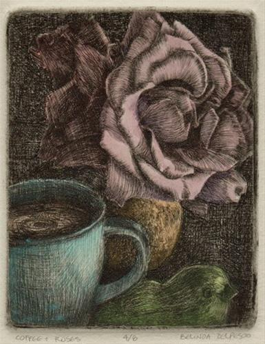 """Drypoint: Coffee & Roses #printmaking #intaglio"" original fine art by Belinda Del Pesco"