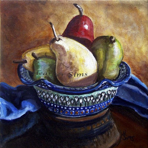 """Bowl of Pears: Polish Pottery XLVI"" original fine art by Heather Sims"