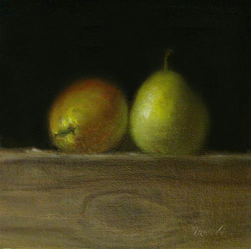 """Two Sickel Pears on Wood Block"" original fine art by MeeLi Lee"
