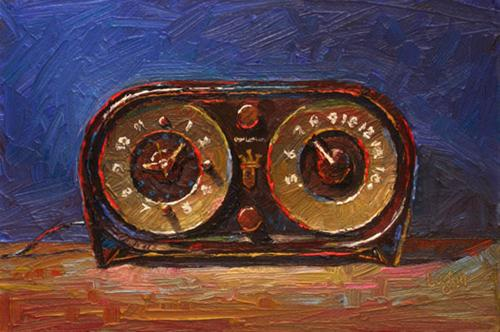 """Zenith Owl Face or Owl Eyes Clock Radio"" original fine art by Raymond Logan"