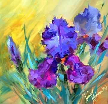 """Purple Star Irises  - Flower Paintings by Nancy Medina"" original fine art by Nancy Medina"