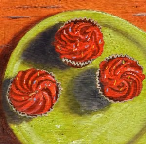 """Red Cupcakes on a Green Plate"" original fine art by Robert Frankis"