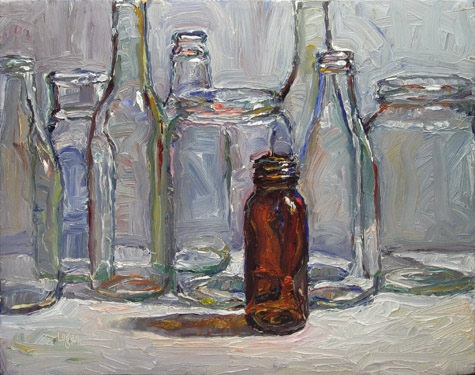 """Brown Bottle"" original fine art by Raymond Logan"