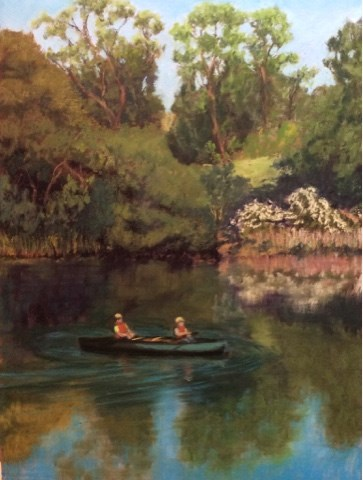"""CANOEING LAKE SOLANO"" original fine art by Marti Walker"