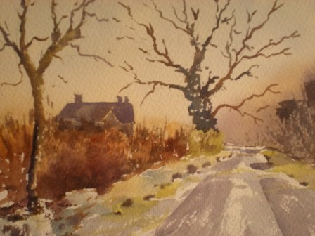 """Frosty Lane to Farmingham"" original fine art by Graham Findlay"