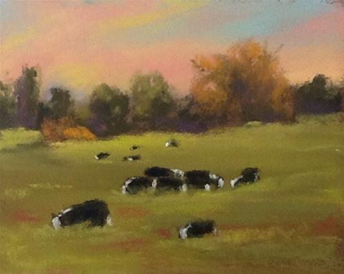 """Grazing Under Evening Skies"" original fine art by Bonnie Griffith"