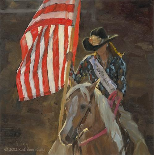 """Rodeo Queen and Old Glory"" original fine art by Kathleen Coy"