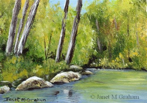 """River through the Forest ACEO"" original fine art by Janet Graham"