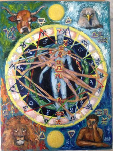 """Tetramorh and All around"" original fine art by Nina K. Nuanes"