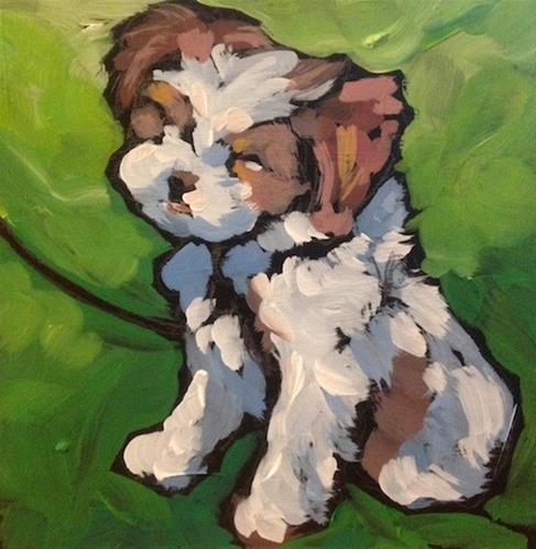 """Appleton Pup"" original fine art by Kat Corrigan"