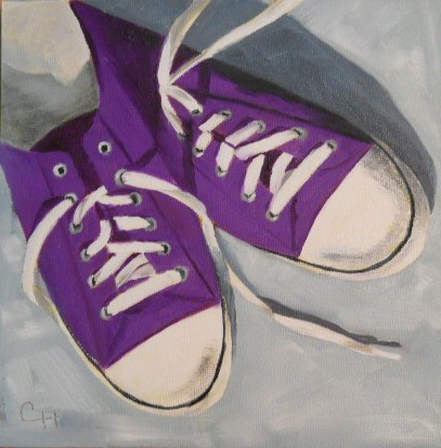 """""""Wendi's Sneakers"""" original fine art by Claire Henning"""