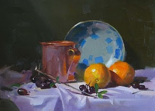 """Copper Cup and Oranges"" original fine art by Qiang Huang"